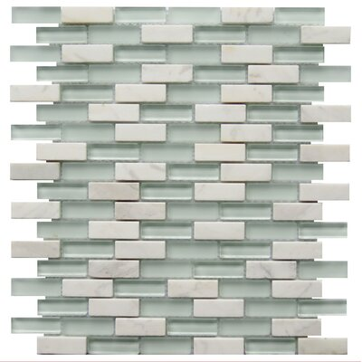 Roma 0.6 x 2 Natural Stone/Glass Mosaic Tile in White