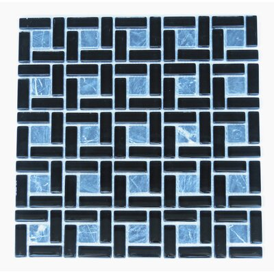 Casinina 12 x 12 Natural Stone/Glass Mosaic Tile in Black