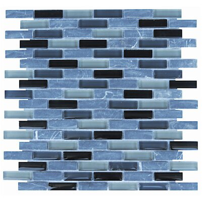 Roma 0.6 x 2 Natural Stone/Glass Mosaic Tile in Black