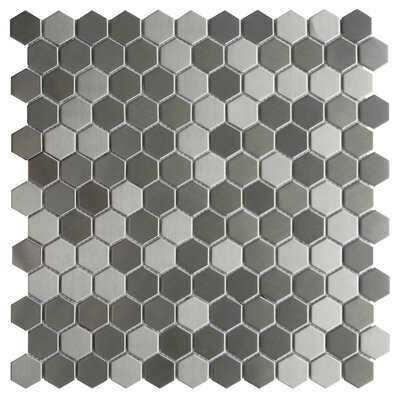 Lazio 1.2 x 1.2 Metal Mosaic Tile in Silver