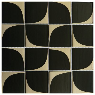 Milano 3 x 3 Glass Mosaic Tile in Black