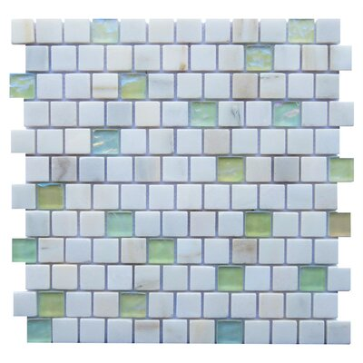 Barletta 1 x 1 Stone/Glass Mosaic Tile in White