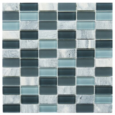 Catania 1 x 2 Natural Stone/Glass Mosaic Tile in Gray