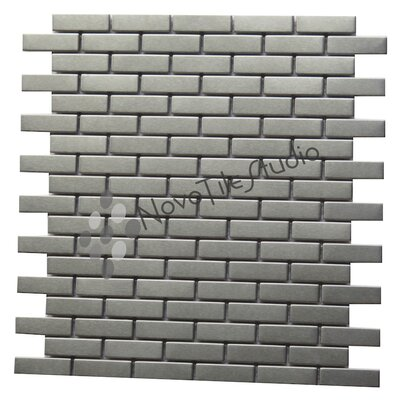 Modena 0.6 x 2 Metal Mosaic Tile in Silver
