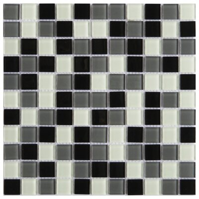 Pizzoli 1 x 1 Glass Mosaic Tile in Black