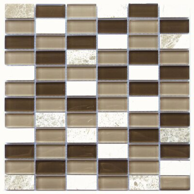 Catania 1 x 2 Natural Stone/Glass Mosaic Tile in Brown