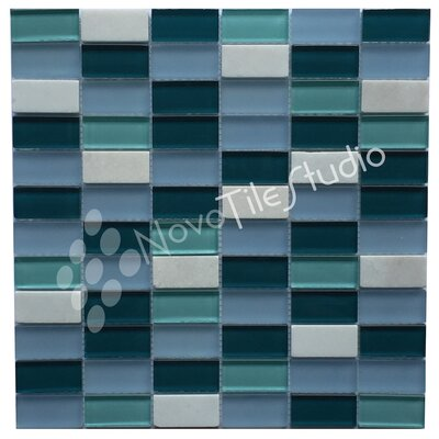 Catania 1 x 2 Natural Stone/Glass Mosaic Tile in Blue