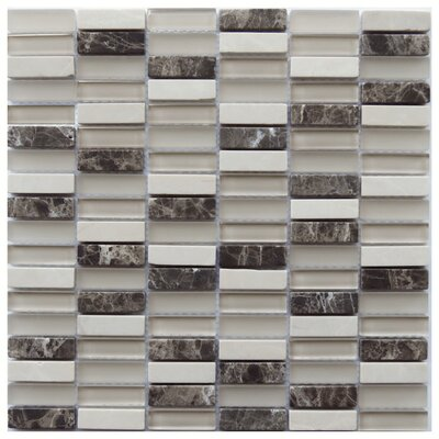 Foggia 0.6 x 2 Natural Stone/Glass Mosaic Tile in Beige