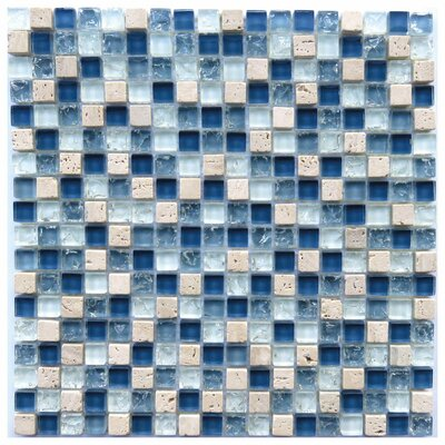 Corsica 0.6 x 0.6 Natural Stone/Glass Mosaic Tile in Blue