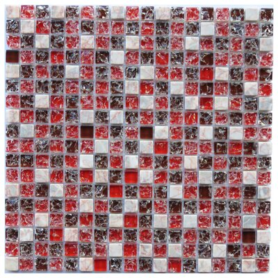 Corsica 0.6 x 0.6 Natural Stone/Glass Mosaic Tile in Red