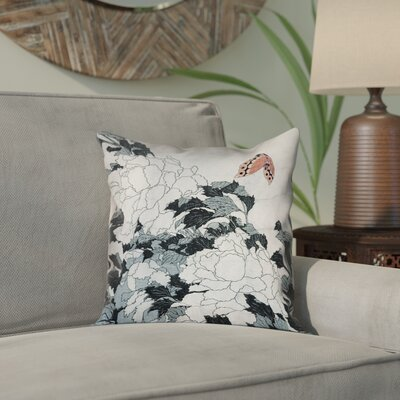 Clair Peonies with Butterfly Outdoor Throw Pillow Color: Peach/Gray, Size: 16 x 16
