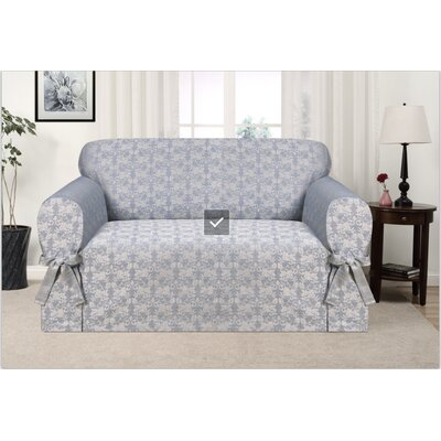 Box Cushion Loveseat Slipcover Upholstery: Blue