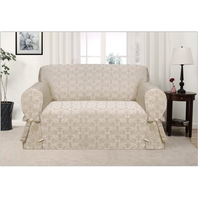 Box Cushion Loveseat Slipcover Upholstery: Gold