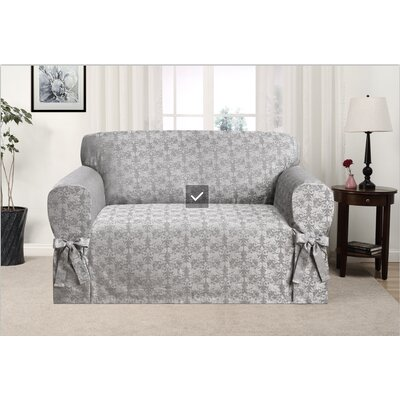 Box Cushion Loveseat Slipcover Upholstery: Gray