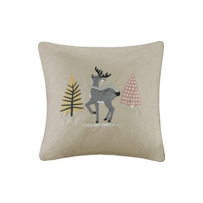 Blu The Holiday Doe Digital Embroidered Square Throw Pillow