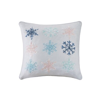 Minty Snowflakes Digital Embroidered Square Throw Pillow