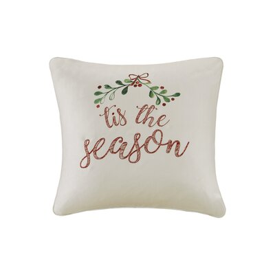 Tis The Season Digital Embroidered Square Throw Pillow