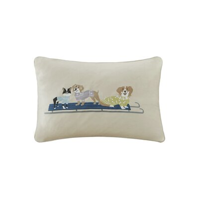 Holiday Sleighing Dogs Digital Embroidered Oblong Throw Pillow