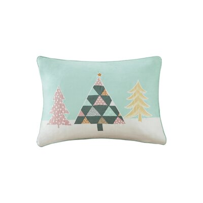 Festive Pastel Wonderland Digital Embroidered Oblong Throw Pillow