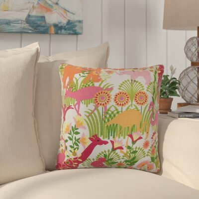 Bristol Flora and Fauna Throw Pillow Cover Size: 18