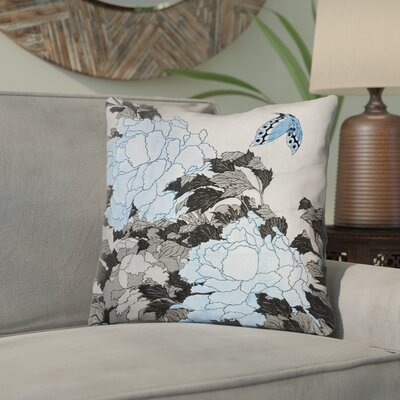 Clair Peonies and Butterfly Square Cotton Throw Pillow Size: 18 H x 18 W, Color: Gray/Blue