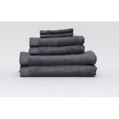 Festa Classic Cotton 6 Piece Towel Set Color: Dark Anthracite