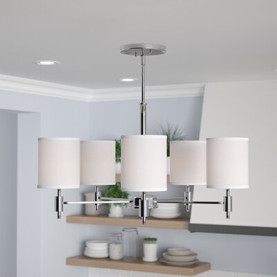 Moriarty 5-Light Shaded Candle-Style Chandelier Finish: Chrome