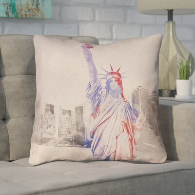 Houck Watercolor Statue of Liberty Throw Pillow Size: 14 H x 14 W