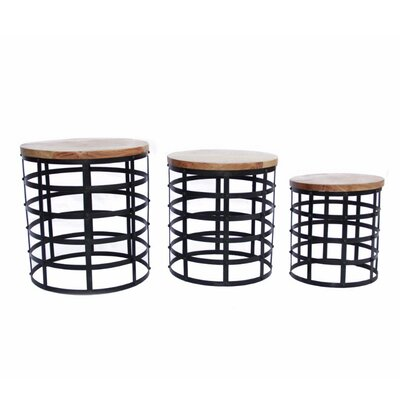 Dansk Contemporary Wood and Iron 3 Piece Nesting Tables
