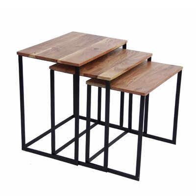 Auden Classic Iron and Wood 3 Piece Nesting Tables