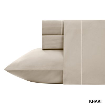 Kensley 400 Thread Count 100% Cotton 4 Piece Sheet Set Size: Queen, Color: Khakhi