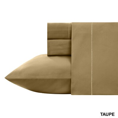 Kensley 400 Thread Count 100% Cotton 4 Piece Sheet Set Size: Full, Color: Taupe