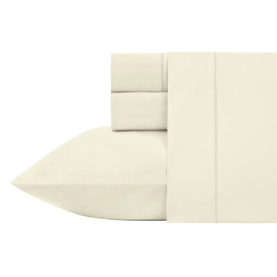 Kensley 400 Thread Count 100% Cotton 4 Piece Sheet Set Size: California King, Color: Vanilla
