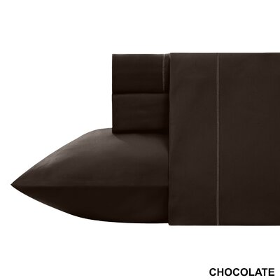Kensley 400 Thread Count 100% Cotton 4 Piece Sheet Set Size: King, Color: Chocolate