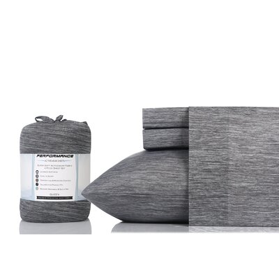 Cortland 100% Cotton Sheet Set Size: Full, Color: Charcoal Chambray
