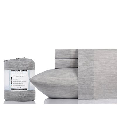 Cortland 100% Cotton Sheet Set Size: Queen, Color: Gray Chambray