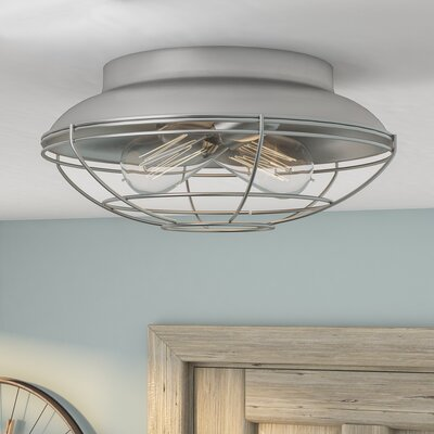 Bruges 2-Light Flush Mount Finish: Satin Nickel, Size: 5.5 H x 12 W x 12 D