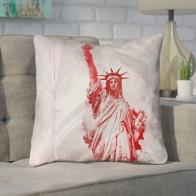 Houck Watercolor Statue of Liberty Cotton Throw Pillow Size: 18 x 18
