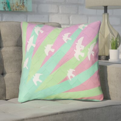 Enciso Birds and Sun Square Indoor Throw Pillow Color: Green/Pink, Size: 16 x 16