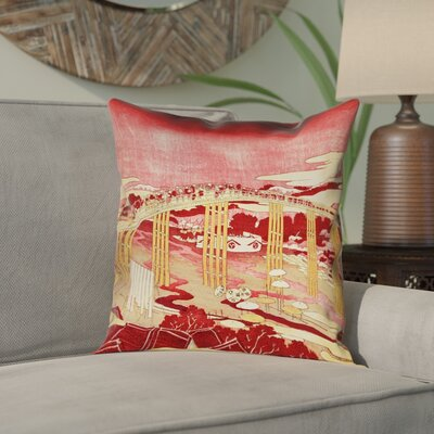 Enya Japanese Bridge Square Pillow Cover Color: Red/Orange, Size: 16 x 16
