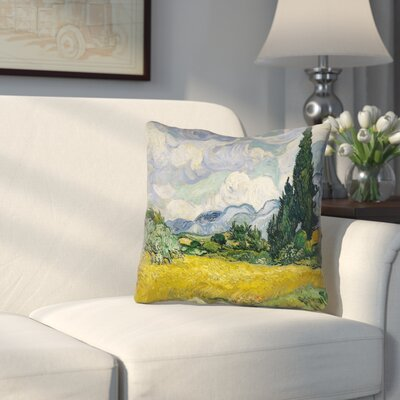 Woodlawn Wheatfield with Cypresses Square Outdoor Throw Pillow Size: 18 H x 18 W