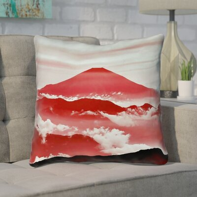 Enciso Fuji Linen Throw pillow Size: 14 H x 14 W, Color: Red