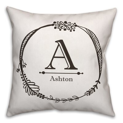 Elezi Initial Wreath Throw Pillow
