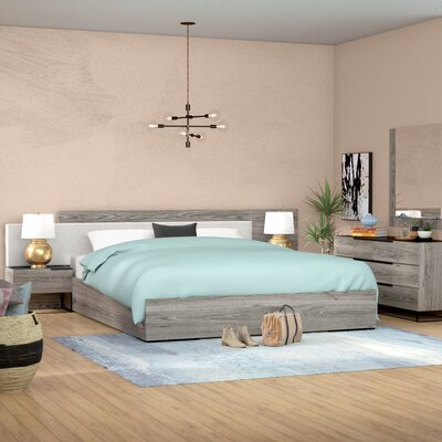 Daughtery Platform 5 Piece Bedroom Set Size: Queen, Finish: Gray Walnut