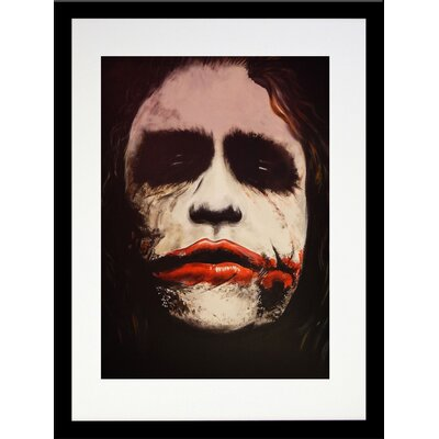 """The Dark Knight Batman Movies The Joker 'Why SO Serious' Framed Acrylic Painting Print Size: 20"""" H x 16"""" W, Format: Black Framed, Matte Color: White IF EDC095 16x20 1.25 Black SM"""