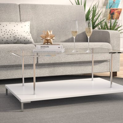 McKenney Glass Top Coffee Table Color: White