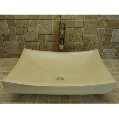Zen Deep Limestone Rectangular Vessel Bathroom Sink