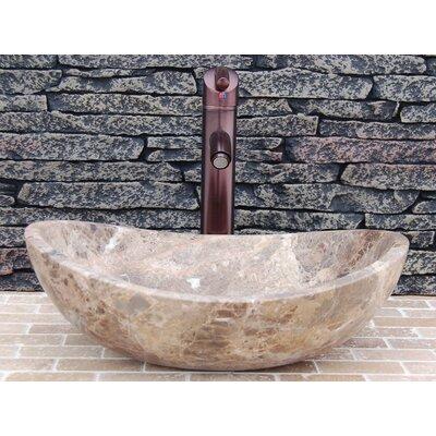Stone Canoe Honed Emperador Marble Oval Vessel Bathroom Sink