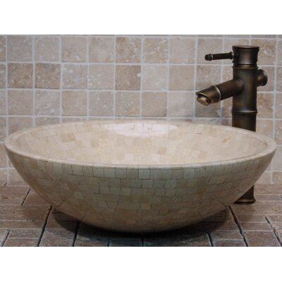 Mosaic Stone Circular Vessel Bathroom Sink