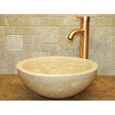 Small Bowl Honed Travertine Circular Vessel Bathroom Sink